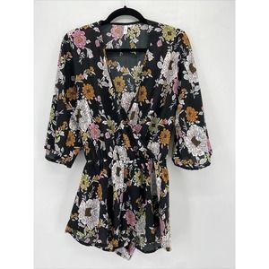 Elan Black Floral Surplice Kimono Sleeve Romper